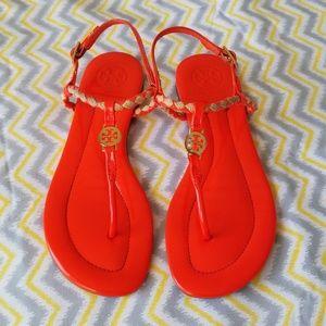 Tory Burch Orange Emy Braided Sandals